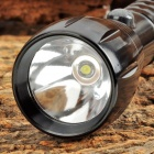 LED 30lm 1-Mode White Aluminum Alloy Flashlight - Black (1 / 2 x AA)