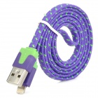 Nylon Housing USB Male to Lightning Data Sync & Charging Flat Cable for iPhone 5 - Purple (1m)
