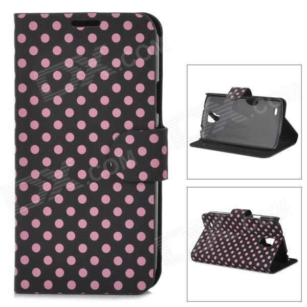 Protective Polka Dot PU Leather Flip Open Case for Samsung i9295 - Black + Pink handpainted cactus and polka dot printed pillow case
