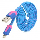 Nylon Housing USB Male to Lightning Data Sync & Charging Flat Cable for iPhone 5 - Blue (1m)