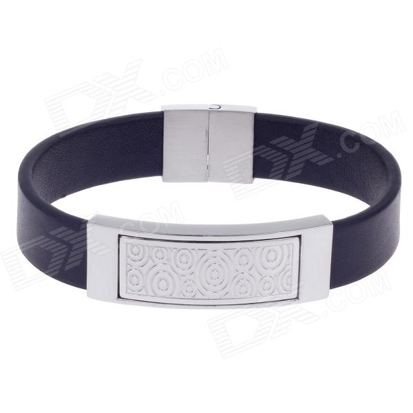 Fashionable Simple Spiricle Style PU Leather Titanium Steel Men's Bracelet - Black + Silver gothic skull hand pu leather bracelet black silver