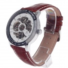 ORKINA KC117 Double-Side Hollow Style Automatic Mechanical Analog Men's Wrist Watch - Brown + White