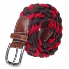 Woven Cloth Women's Waist Belt - Red + Brown