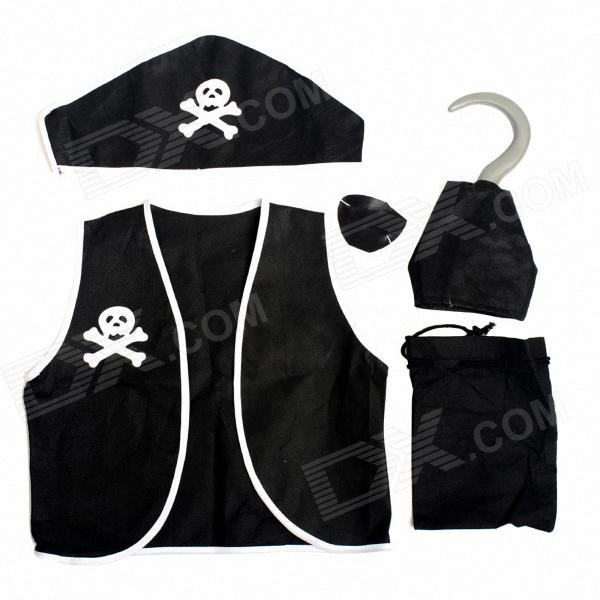 Non-Woven Fabric Children's Pirate Clothing for Halloween Costume Party - Black