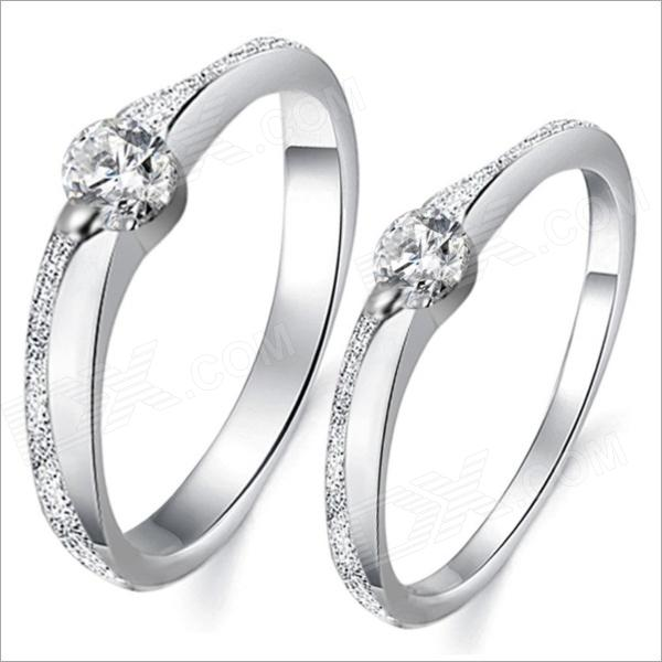 Fashionable Sansei III Spend Couple Rings DJ913 - Silver (Men 9# / Women 7#)Rings<br>Brand N/A Model 913 Quantity 2 Piece Suitable for Adults Gender Unisex Color Silver Material White gold plating + rhinestone U.S.A Size Men: 9; women: 7 Ring Diameter 19 mm Ring Circumference 60 mm Features Ring diameter: 19mm (male) 17mm (female); Ring Circumference: 60mm (male) 54mm (female); Simple design; Corrosion resisting Packing List 1 x Pair of rings<br>
