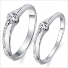 Fashionable Sansei III Spend Couple Rings DJ913 - Silver (Men 9# / Women 7#)