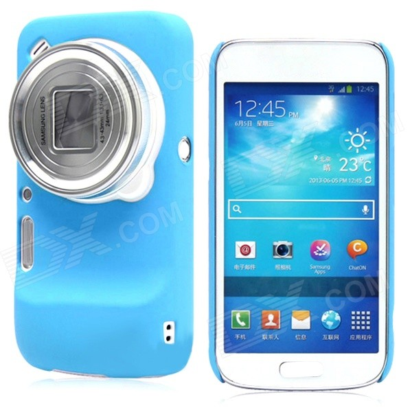 Protective Hollow-out Matte PC Back Case for Samsung Galaxy S4 Zoom/ SM-C1010 - Blue cm001 3d skeleton pattern protective plastic back case for samsung galaxy s4