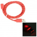 USB 2.0 Female to Micro 5pin Male Flashing Nylon Data Cable for Samsung - Red + Black + White