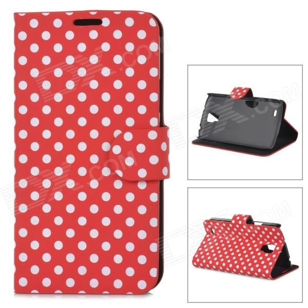 Protective Polka Dot PU Leather Flip Open Case for Samsung i9295 - White + Red handpainted cactus and polka dot printed pillow case