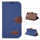 Protective PU Leather Denim FLip Open Case for Samsung i9200 - Deep Blue + Brown