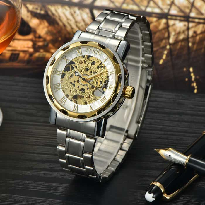 MCE 01-0060062 Men's Stylish Steel Band Automatic Mechanical Wrist Watch - Silver + Golden + Black