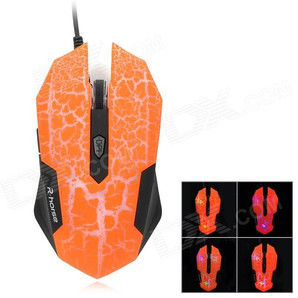 RH2300 Wired 800 / 1600 / 2400 / 3200dpi Gaming Optical Mouse - Black + Orange