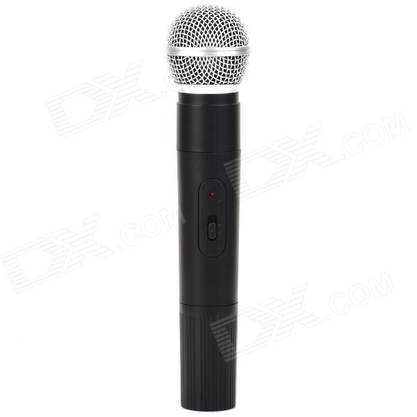 Wireless Karaoke Microphone w/ USB Receiver - Black + Silver  professional handheld dynamic karaoke mic vhf wireless microphone system with receiver for ktv fio microfone mikrofon microfono