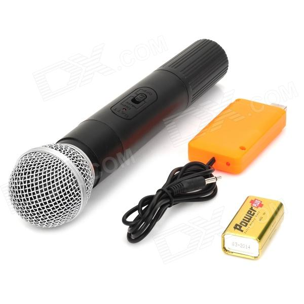 wireless karaoke microphone w usb receiver black silver free shipping dealextreme. Black Bedroom Furniture Sets. Home Design Ideas