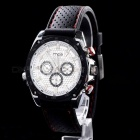 MCE 01-0060193 Fashion Silicone Band Round Dial Automatic Mechanical Watch - Black + Silver