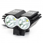 LetterFire LF-22 2 x CREE XM-L T6 1000lm 3-Mode White Bicycle Headlight - Black (4 x 18650)