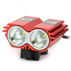 LetterFire LF-22 2 x CREE XM-L T6 1000lm 3-Mode White Bicycle Headlight - Red (4 x 18650)