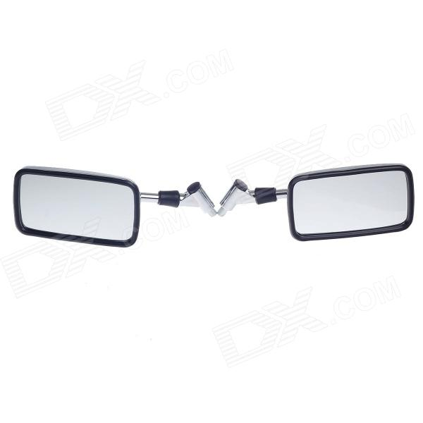 QC-M-Storm Prince Universal 0.8mm Motorcycle Rearview Mirror - Black + Silver (Pair)