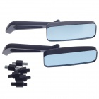 QC-M-012 Universal Motorcycle Rearview Mirror w/ Light Blue Glass - Black