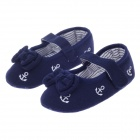 Cute Bowknot + Velcro Cotton Baby Shoes - Deep Blue + White (6~9 Months / Pair)