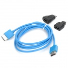 1080P 3-in-1 HDMI Male to Male Connection Cable w/ Mini HDMI & Micro HDMI Adapters - Blue + Black