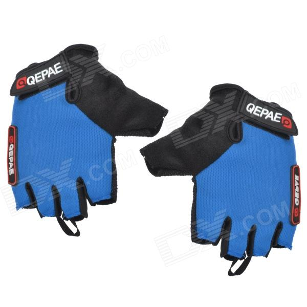 Qepae F035 Outdoor Sports Cycling Non-slip Half Fingers Gloves - Black + Black (Pair / Size XL) spakct cool006 knuckle riding cycling gloves black white red xl 21cm