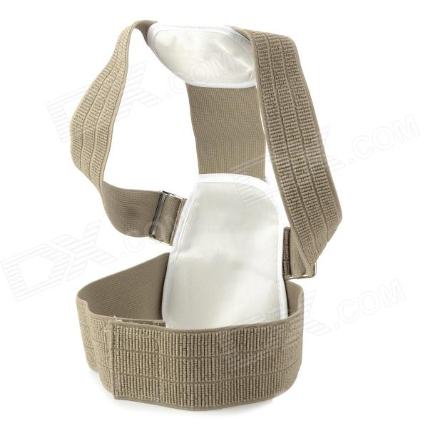 Back Posture Correction Belt - Deep Khaki + White + Beige back posture correction belt for children beige