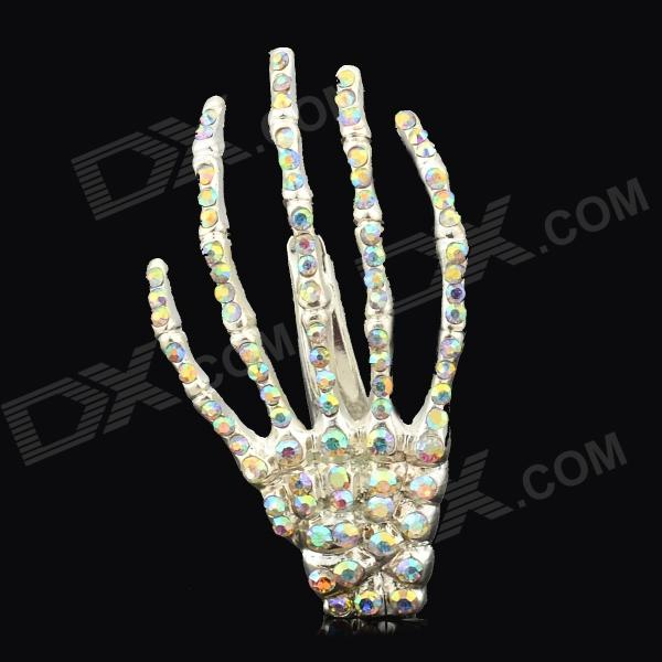 Creative Skeleton Claws Skull Hand Crystal Hairpin Bobby Pin - Multicolored