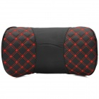 Super Fiber Leather + Memory Cotton Car Neck / Head Support Cushion / Pillow - Black + Red