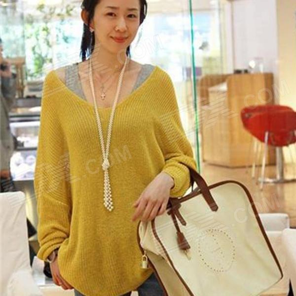 YLY-DXH-622-6224# Fashionable Women's V-Neck Loose Sweater - Yellow