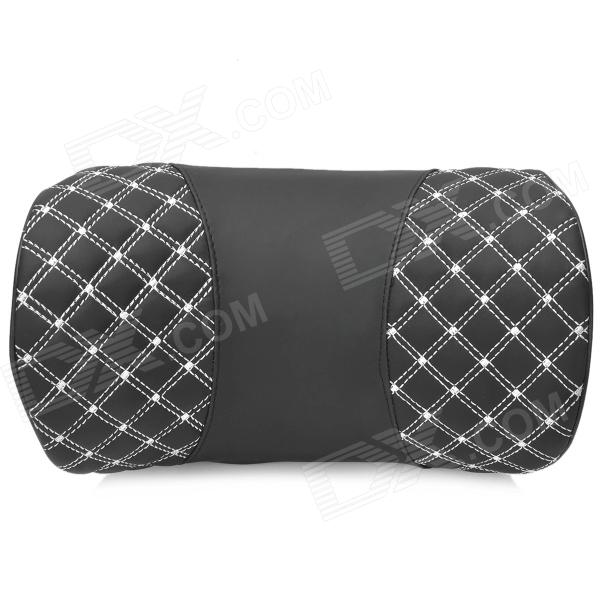 Super Fiber Leather + Memory Cotton Car Neck / Head Support Cushion / Pillow - Black + White