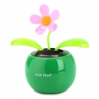 Solar Powered Flower Shaking and Swaying Desktop Toy  - Green + Black + Pink