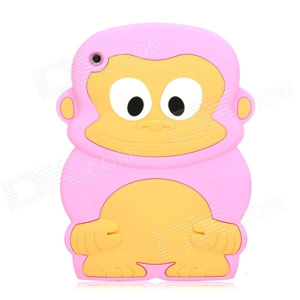 Cute Monkey Style Protective Silicone Back Case for Ipad MINI - Pink cute 3d monkey style protective silicone case for iphone 5 pink