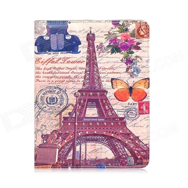 Eiffel Tower & Classic Car Style Protective Rhinestone PU Leather Case for Ipad 2 / 3 / 4 - Brown rhinestone eiffel tower style protective pu leather case for samsung galaxy note 3 n9000 white