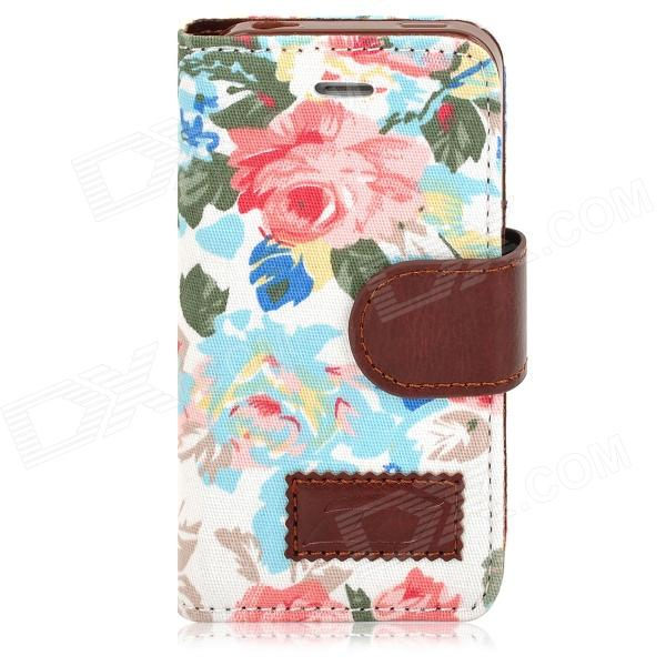 Stylish Flower Pattern Protective PU Leather Case for Iphone 4 / 4S - Multicolor circle pattern protective pu leather case w strap for iphone 4 5 4s red