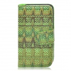 Stylish Patterned Flip-open PU Leather Case w/ Holder + Card Slot for Iphone 4S / 4 - Green