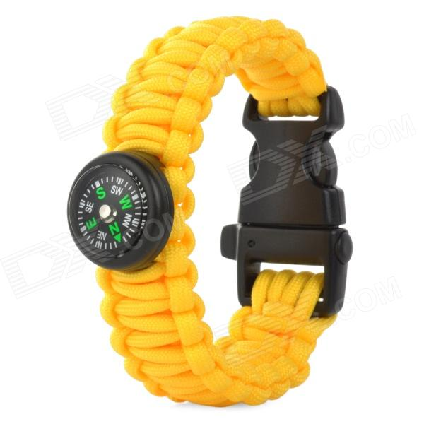 Outdoor Sports Nylon Survival Paracord Bracelet w/ Compass - Yellow military nylon stainless steel survival paracord bracelet khaki