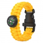 Outdoor Sports Nylon Survival Paracord Bracelet w/ Compass - Yellow