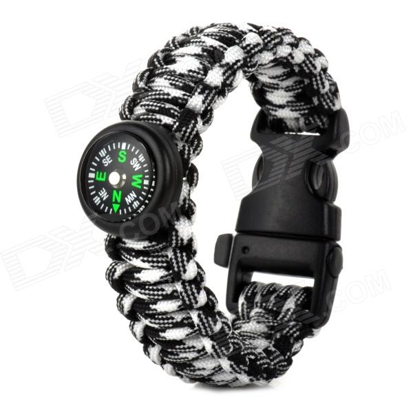 Outdoor Sports Nylon Survival Paracord Bracelet w/ Compass - Black + White outdoor sports nylon survival paracord bracelet w compass yellow black