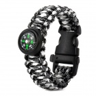 Outdoor Sports Nylon Survival Paracord Bracelet w/ Compass - Black + White