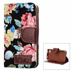 Protective Flower Cloth  PU Leather Case for Iphone 4 / 4S