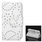 Stylish Maple Leaf Pattern Crystal Inlaid Flip-open PU Leather Case w/ Card Slot for iPhone 4S / 4