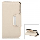 Stylish Classic Flip-open PU Leather Case w/ Holder + Card Slot for Iphone 5 - Khaki