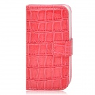 Stylish Crocodile Skin Pattern Flip-open PU Leather Case w/ Holder + Card Slot for Iphone 4S / 4