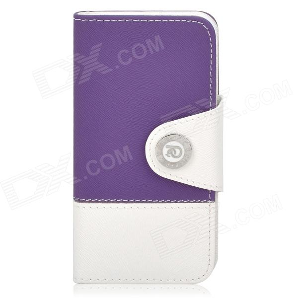 Stylish Flip-open PU Leather Case w/ Card Slot + Stand + Strap for Iphone 5 - Purple + White wallet style magnet buckle pu leather flip open case w stand card slot strap for iphone 6 4 7