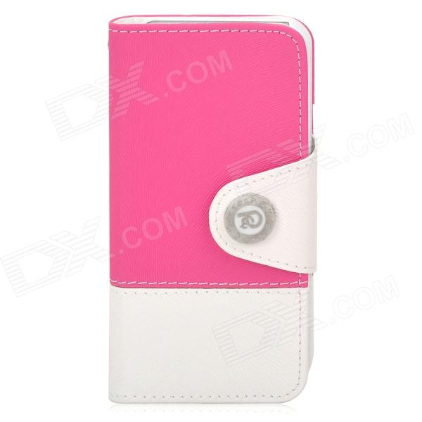 Stylish Flip-open PU Leather Case w/ Card Slot + Stand + Strap for Iphone 5 - Deep Pink + White cute owl pattern pu leather flip open case w stand card slot for iphone 4 4s multi color