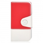 Stilvolle Flip-Open PU-Leder Case w / Card Slot + Stand + Strap für iPhone 5 - rot + weiß