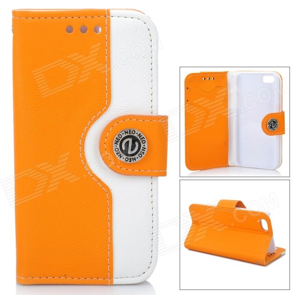 Stylish Flip-open PU Leather Case w/ Card Slot + Stand + Strap for Iphone 5 - Yellow + White wallet style magnet buckle pu leather flip open case w stand card slot strap for iphone 6 4 7