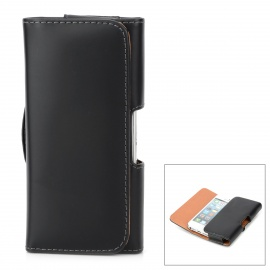 Protective PU Leather Case w/ Blet Clip for Iphone 5C / 5s / 5 - Black