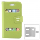 Ultrathin Protective PU Leather Case w/ Display Window for Iphone 4 - Green
